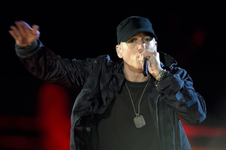 Eminem performing in The Concert for Valor. 2014