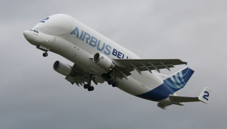 F GSTB Airbus A300 600ST departing Chester
