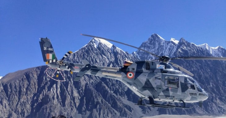 HAL LUH during trials in Leh