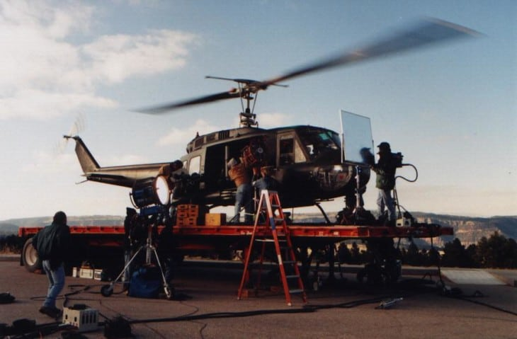 Helicopter pilot Ray McCort filming Chill factor
