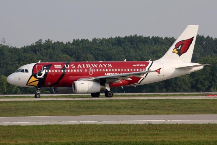 U.S Airways A319 sporting the NFL Arizona Cardinals.
