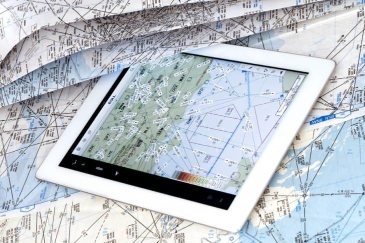 Aeronautical navigation chart and iPad
