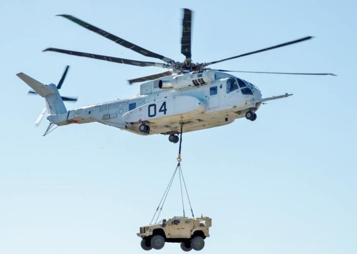 CH 53K King Stallion lifts a Joint Light Tactical Vehicle