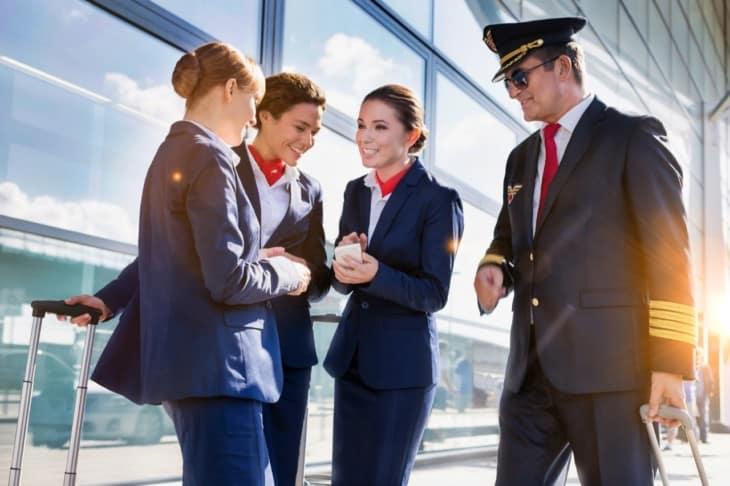 flight attendants and pilot