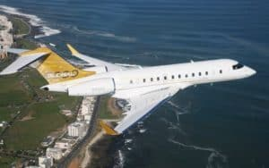 Bombardier Global 5000 over the ocean