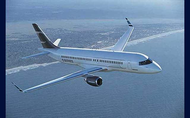 Bombardier CS100 flying