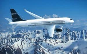 Bombardier CS300 flying